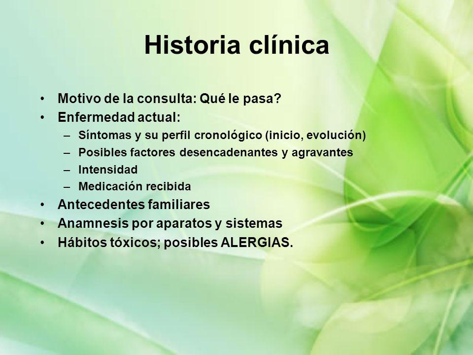 Historia clínica Motivo de la consulta: Qué le pasa