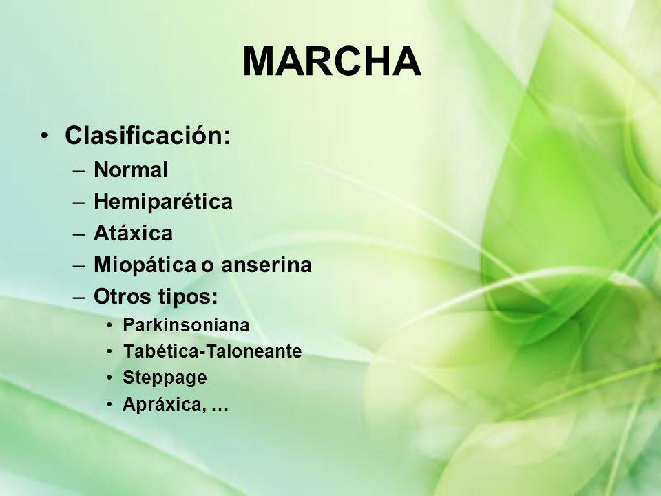 MARCHA Clasificación: Normal Hemiparética Atáxica Miopática o anserina