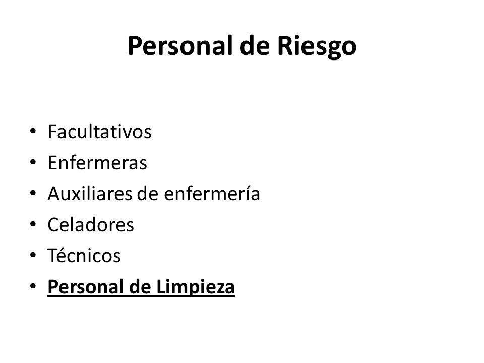 Personal de Riesgo Facultativos Enfermeras Auxiliares de enfermería