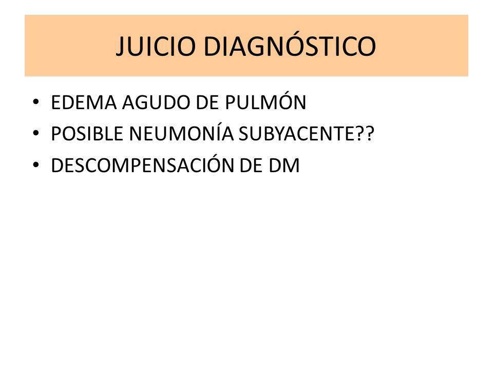 JUICIO DIAGNÓSTICO EDEMA AGUDO DE PULMÓN POSIBLE NEUMONÍA SUBYACENTE