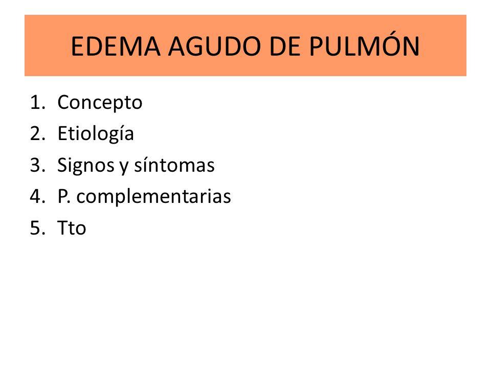 EDEMA AGUDO DE PULMÓN Concepto Etiología Signos y síntomas