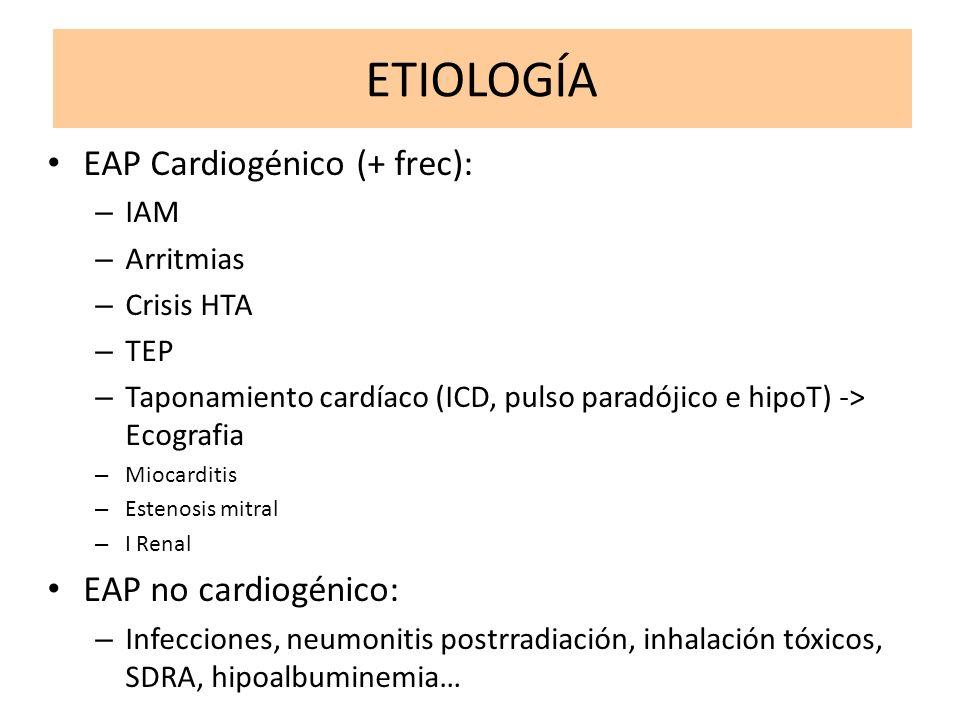 ETIOLOGÍA EAP Cardiogénico (+ frec): EAP no cardiogénico: IAM