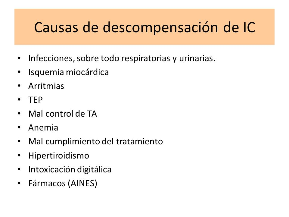 Causas de descompensación de IC