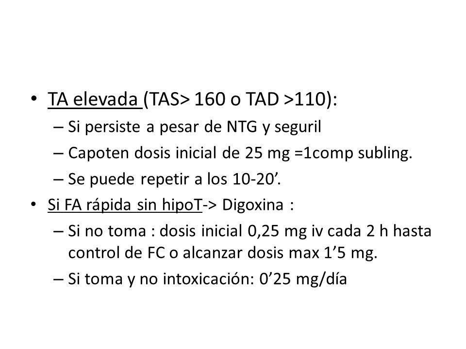 TA elevada (TAS> 160 o TAD >110):