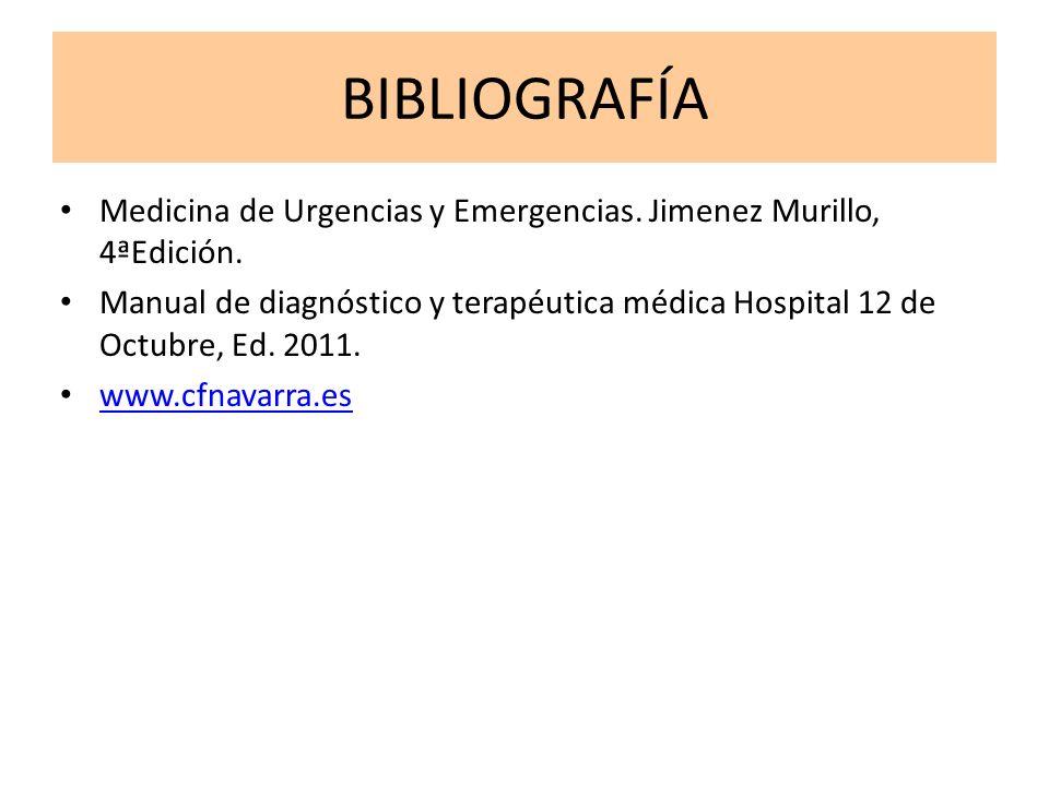 BIBLIOGRAFÍAMedicina de Urgencias y Emergencias. Jimenez Murillo, 4ªEdición.