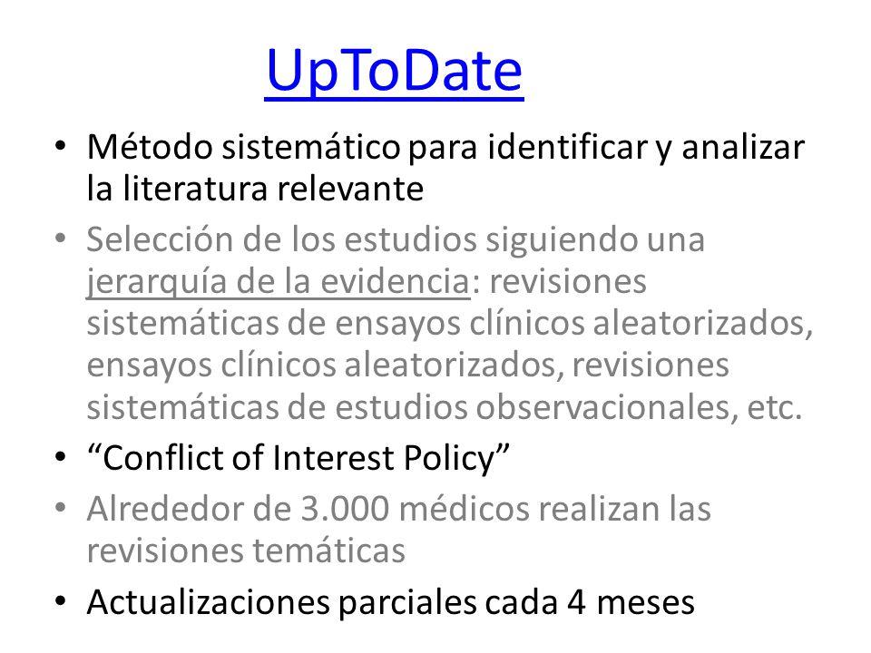 UpToDate Método sistemático para identificar y analizar la literatura relevante.