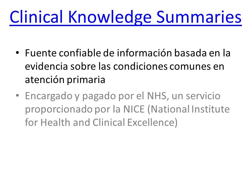 Clinical Knowledge Summaries