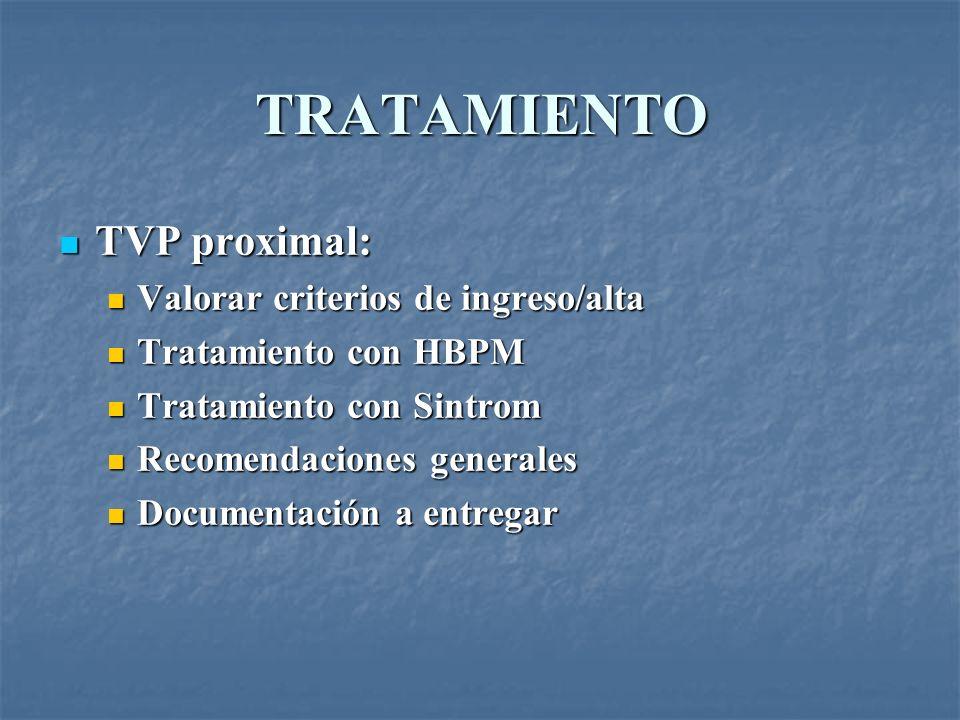 TRATAMIENTO TVP proximal: Valorar criterios de ingreso/alta