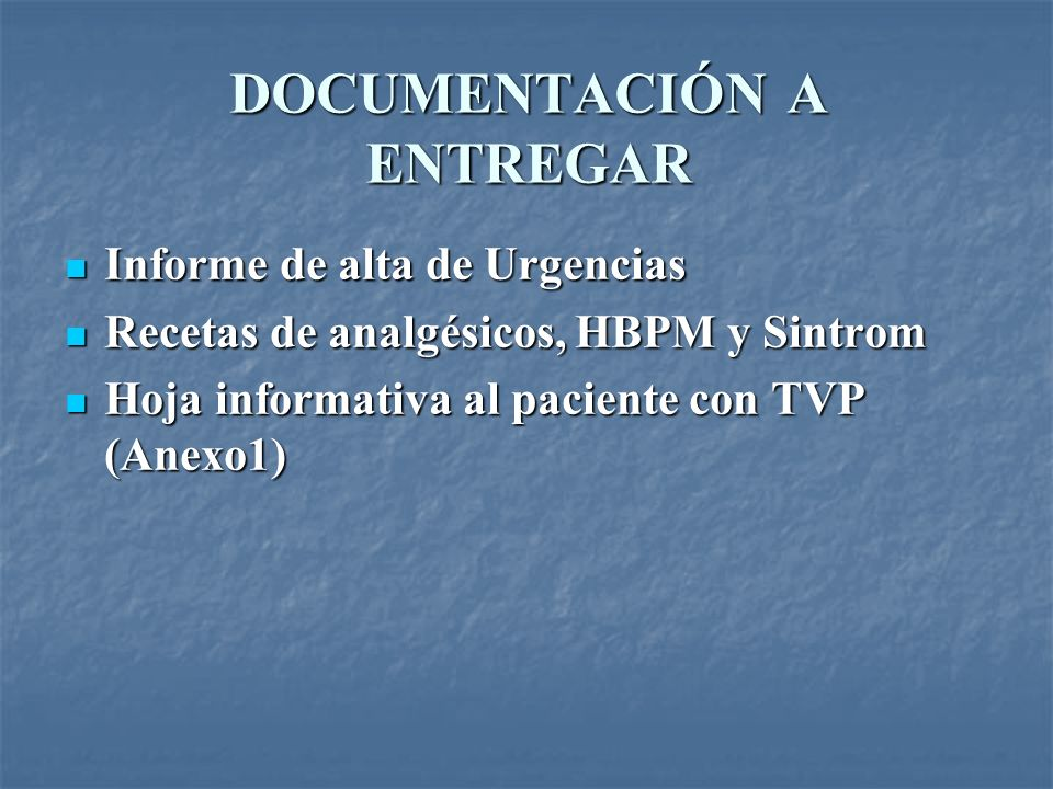 DOCUMENTACIÓN A ENTREGAR