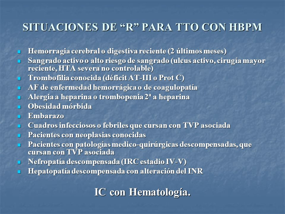 SITUACIONES DE R PARA TTO CON HBPM