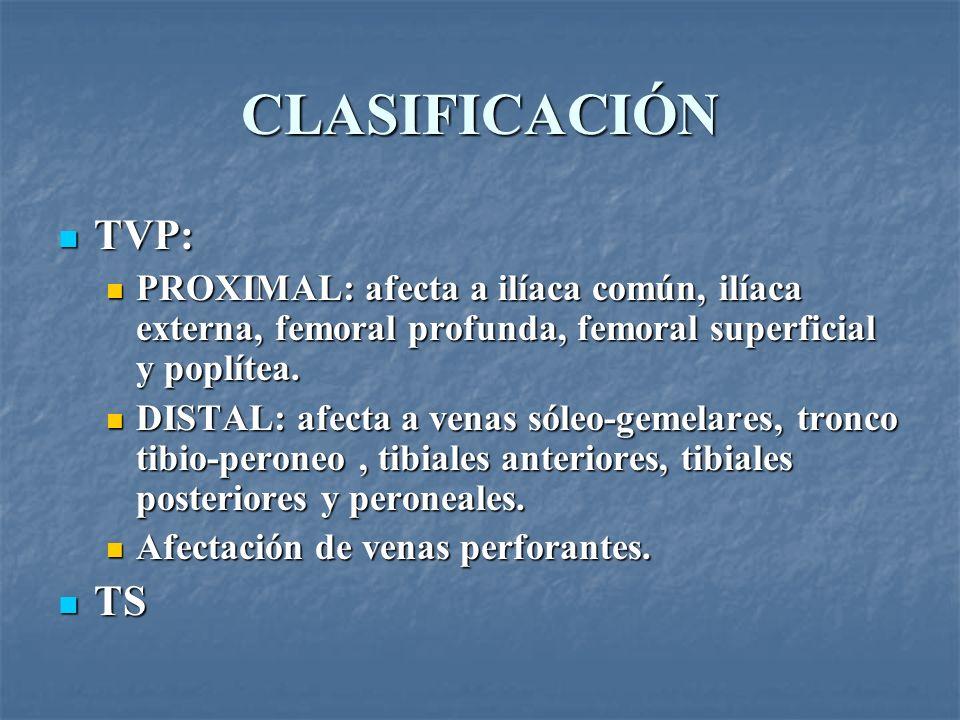 CLASIFICACIÓN TVP: PROXIMAL: afecta a ilíaca común, ilíaca externa, femoral profunda, femoral superficial y poplítea.