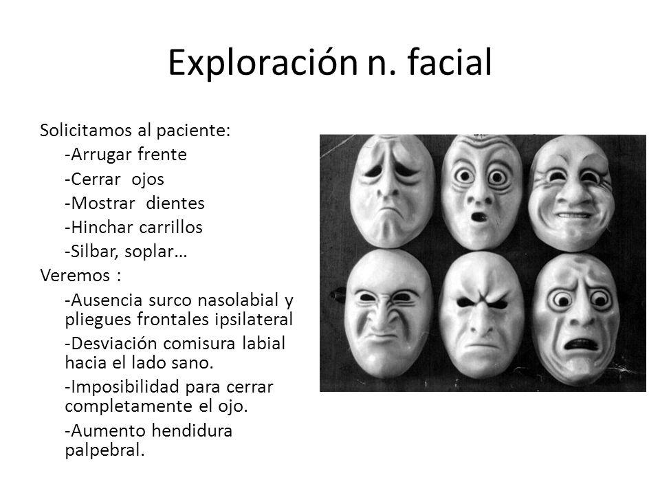 Exploración n. facial Solicitamos al paciente: -Arrugar frente