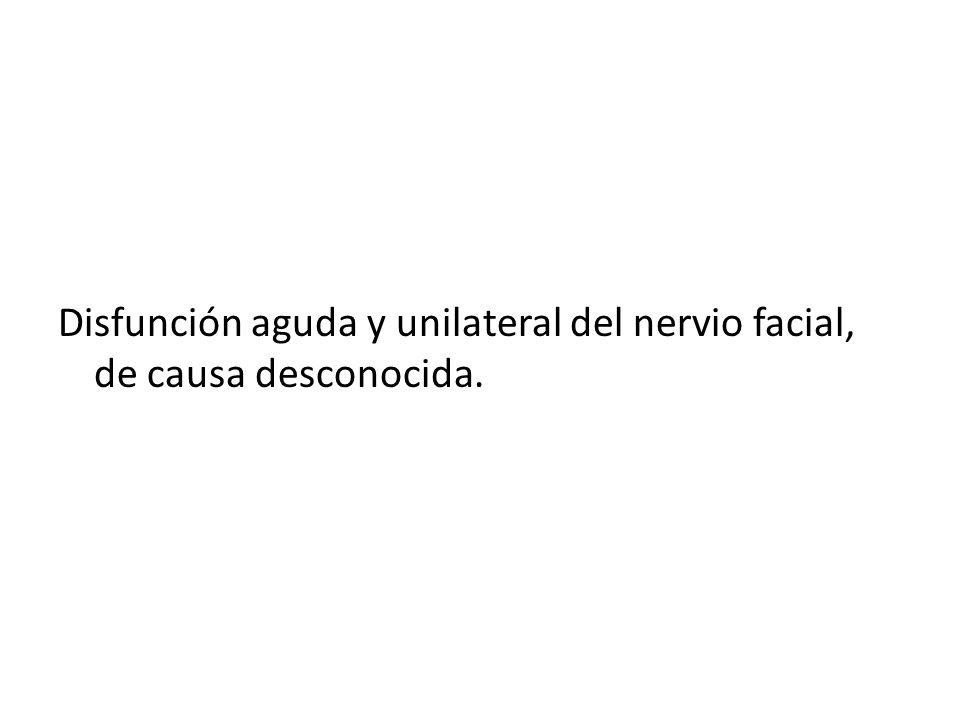 Disfunción aguda y unilateral del nervio facial, de causa desconocida.