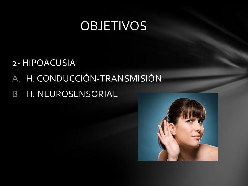 OBJETIVOS 2- HIPOACUSIA H. CONDUCCIÓN-TRANSMISIÓN H. NEUROSENSORIAL