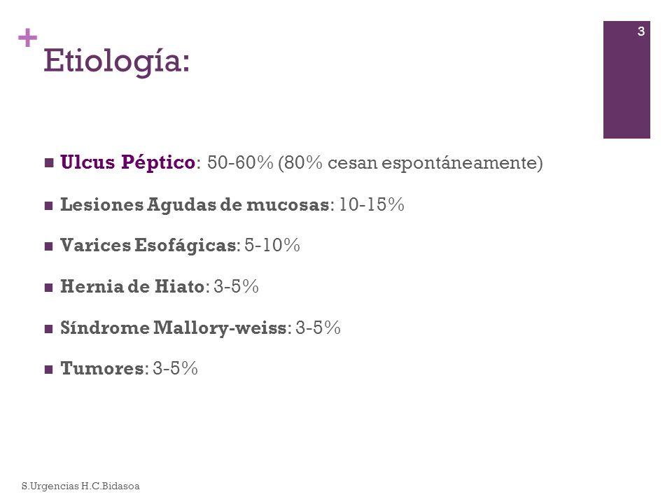 Etiología: Ulcus Péptico: 50-60% (80% cesan espontáneamente)