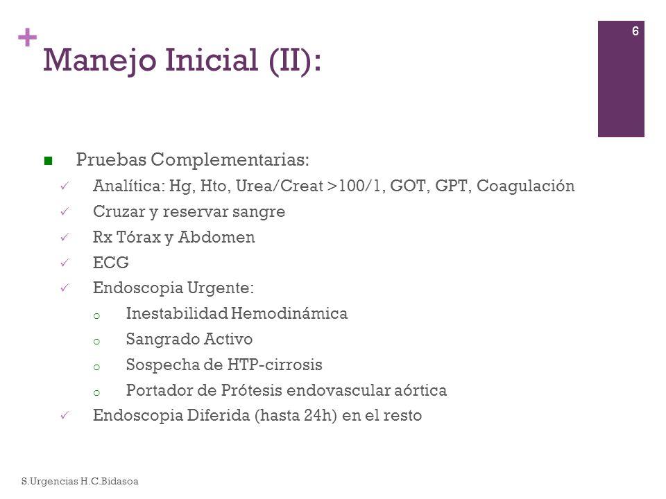Manejo Inicial (II): Pruebas Complementarias: