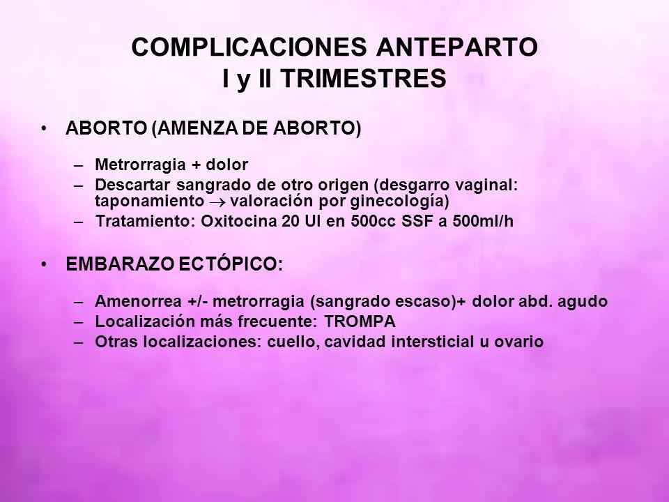COMPLICACIONES ANTEPARTO I y II TRIMESTRES