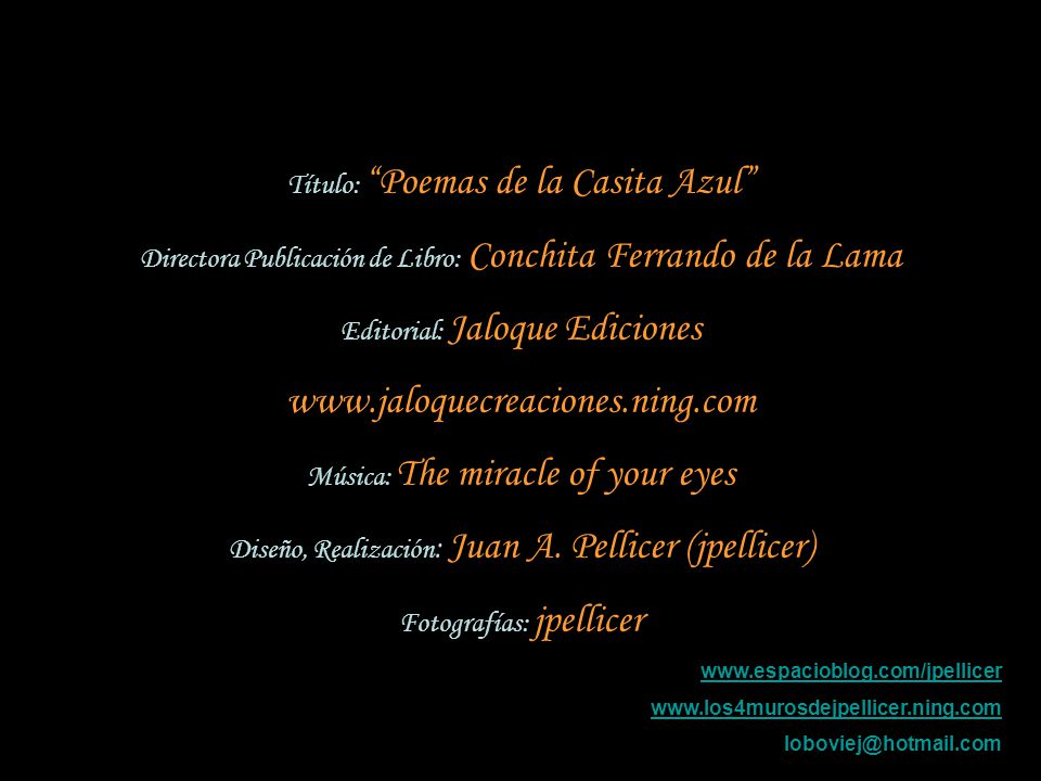 www.jaloquecreaciones.ning.com Título: Poemas de la Casita Azul