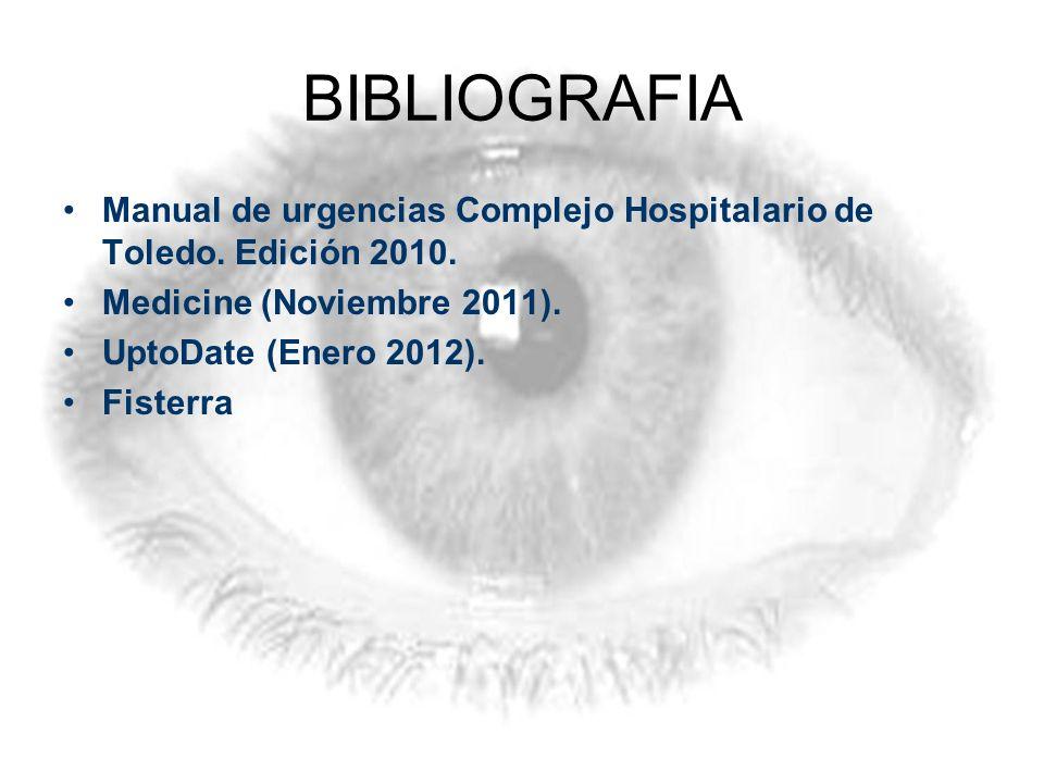 BIBLIOGRAFIA Manual de urgencias Complejo Hospitalario de Toledo. Edición 2010. Medicine (Noviembre 2011).