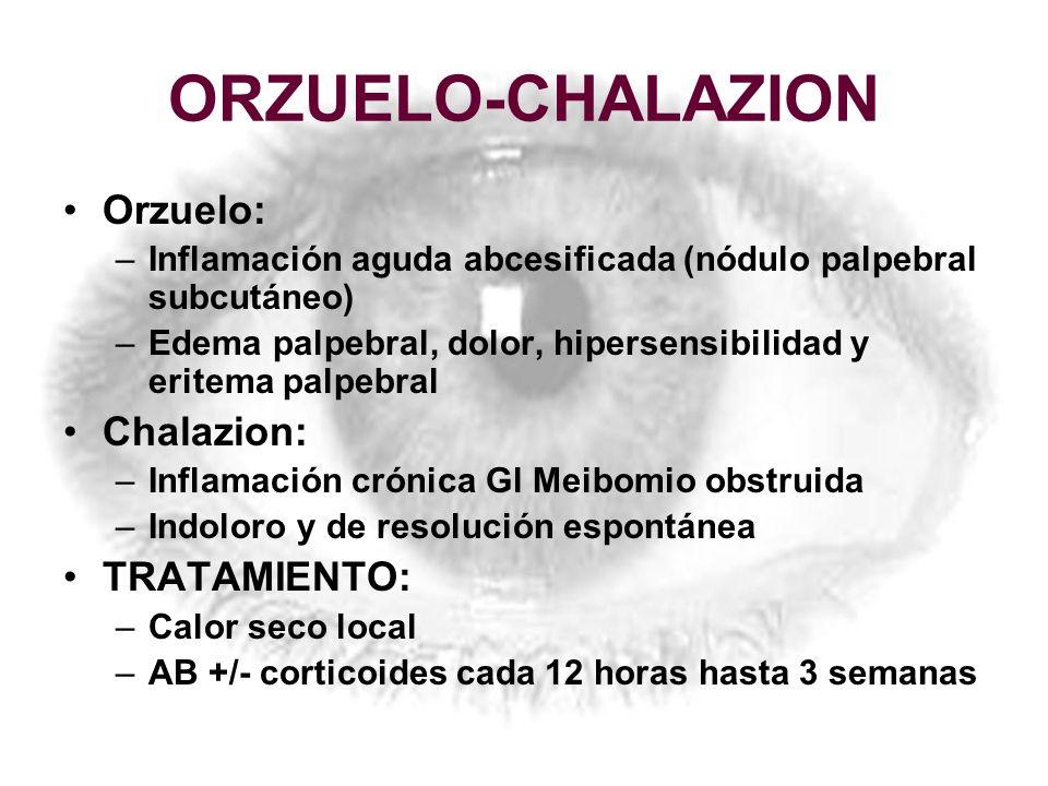 ORZUELO-CHALAZION Orzuelo: Chalazion: TRATAMIENTO: