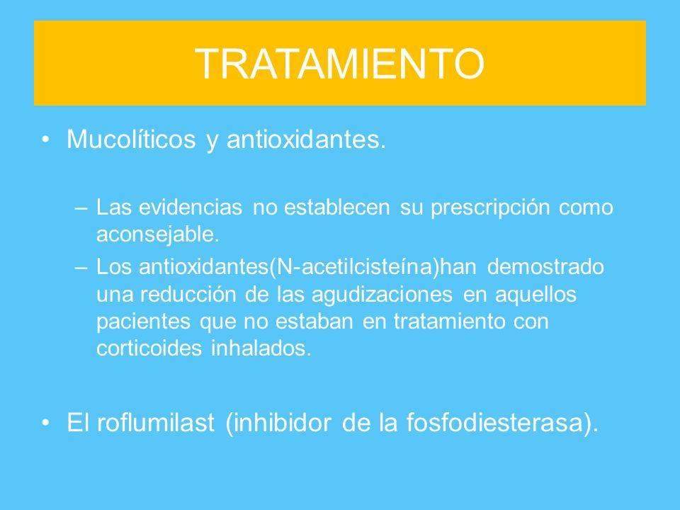 TRATAMIENTO Mucolíticos y antioxidantes.