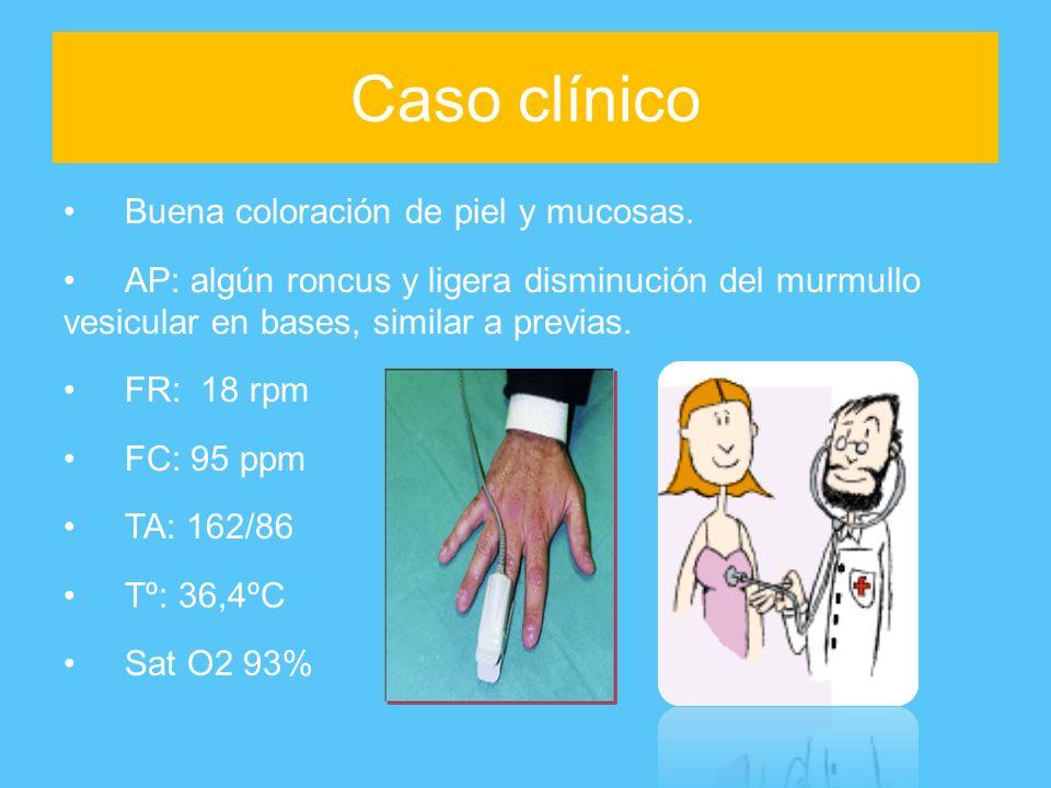 Caso clínico Buena coloración de piel y mucosas.
