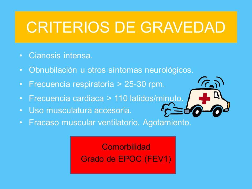CRITERIOS DE GRAVEDAD Cianosis intensa.