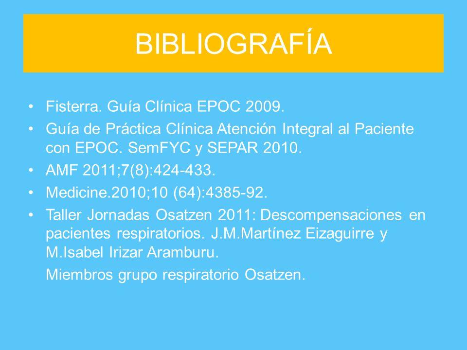BIBLIOGRAFÍA Fisterra. Guía Clínica EPOC 2009.