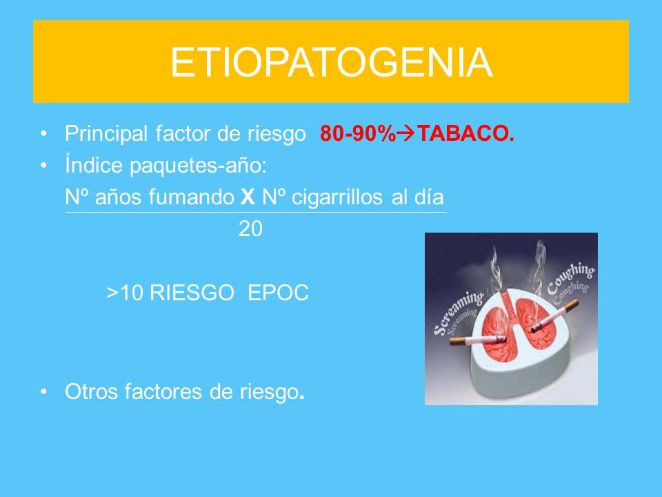 ETIOPATOGENIA Principal factor de riesgo 80-90%TABACO.