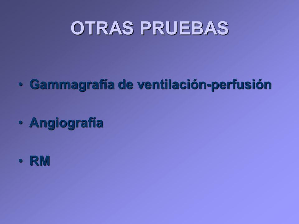 OTRAS PRUEBAS Gammagrafía de ventilación-perfusión Angiografía RM