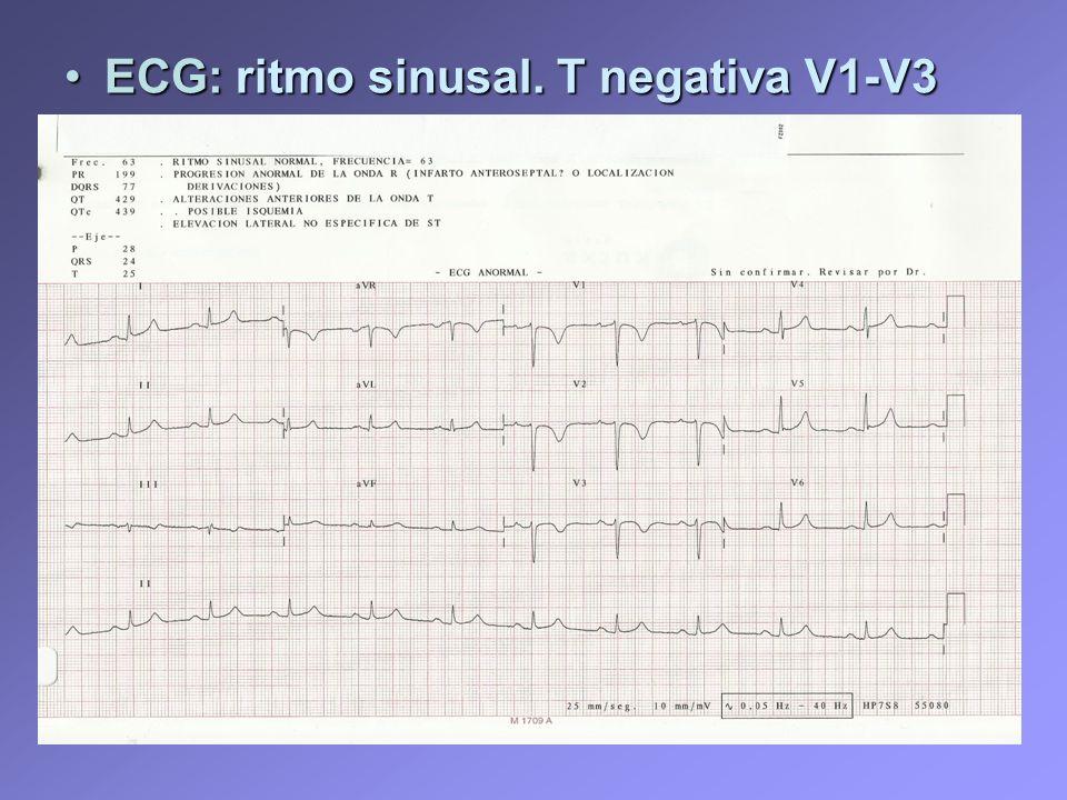 ECG: ritmo sinusal. T negativa V1-V3