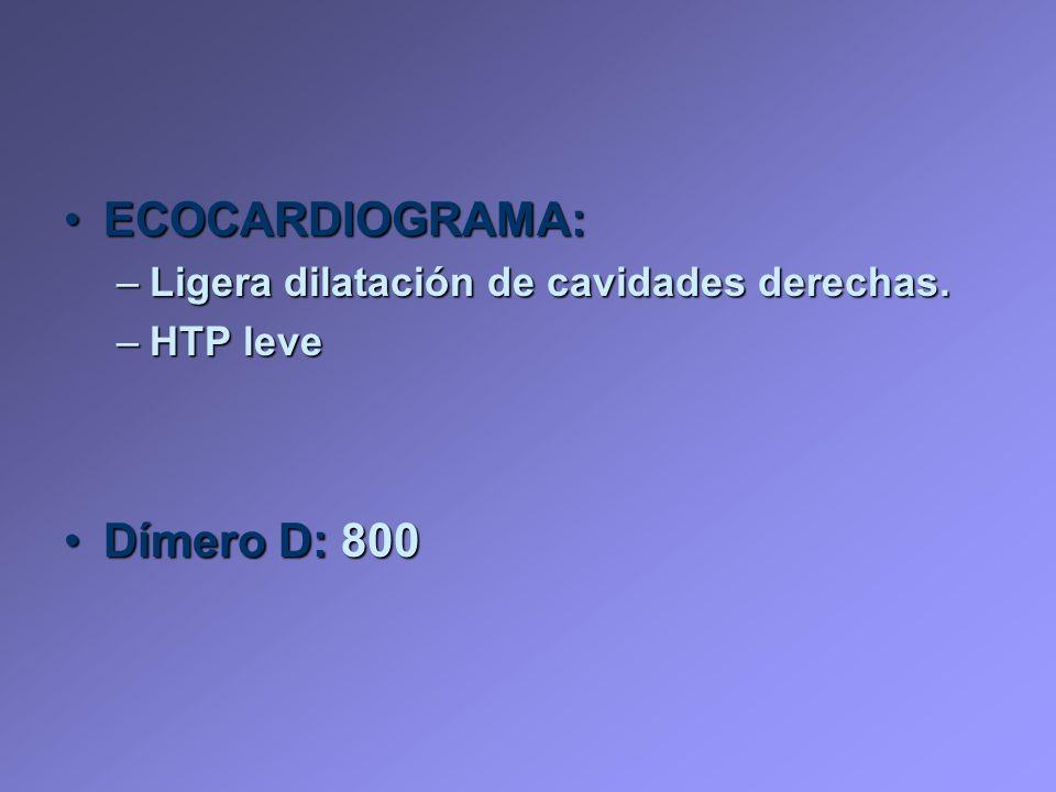 ECOCARDIOGRAMA: Dímero D: 800 Ligera dilatación de cavidades derechas.