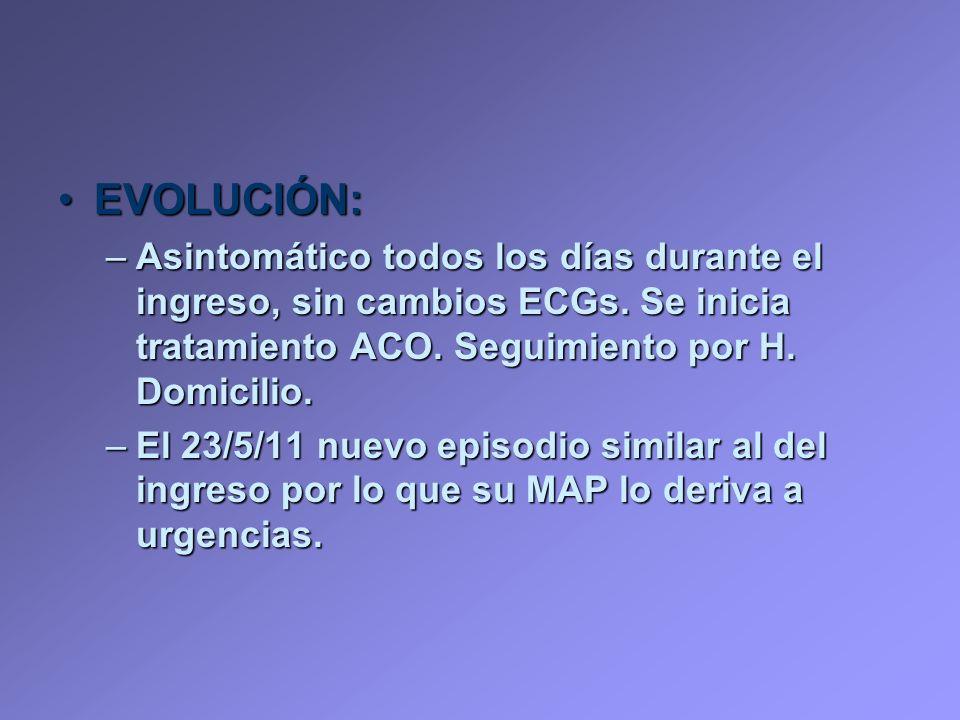 EVOLUCIÓN: Asintomático todos los días durante el ingreso, sin cambios ECGs. Se inicia tratamiento ACO. Seguimiento por H. Domicilio.