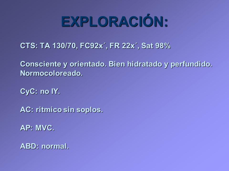 EXPLORACIÓN: CTS: TA 130/70, FC92x´, FR 22x´, Sat 98%