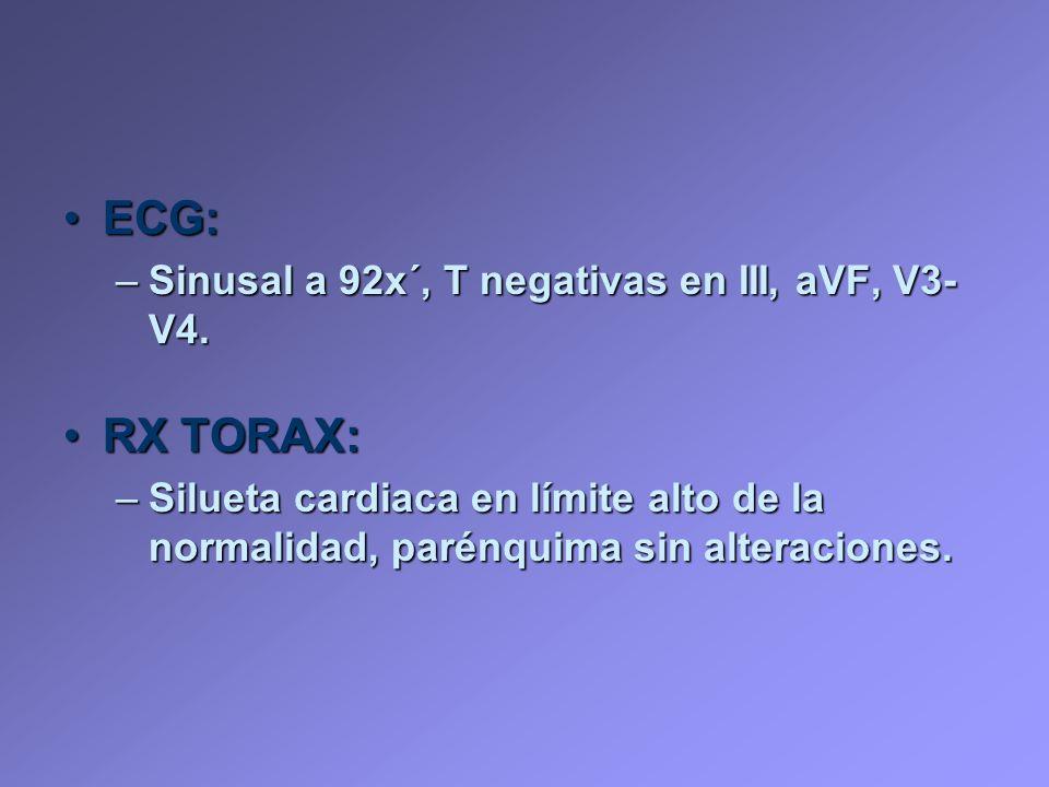 ECG: RX TORAX: Sinusal a 92x´, T negativas en III, aVF, V3-V4.