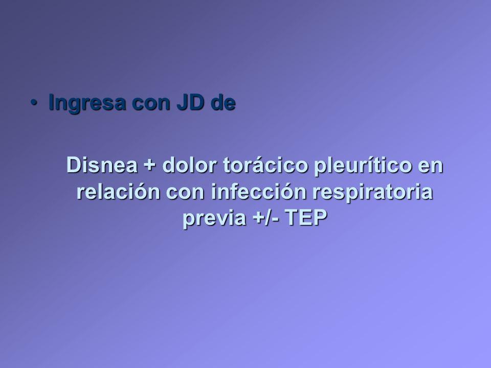 Ingresa con JD de Disnea + dolor torácico pleurítico en relación con infección respiratoria previa +/- TEP.