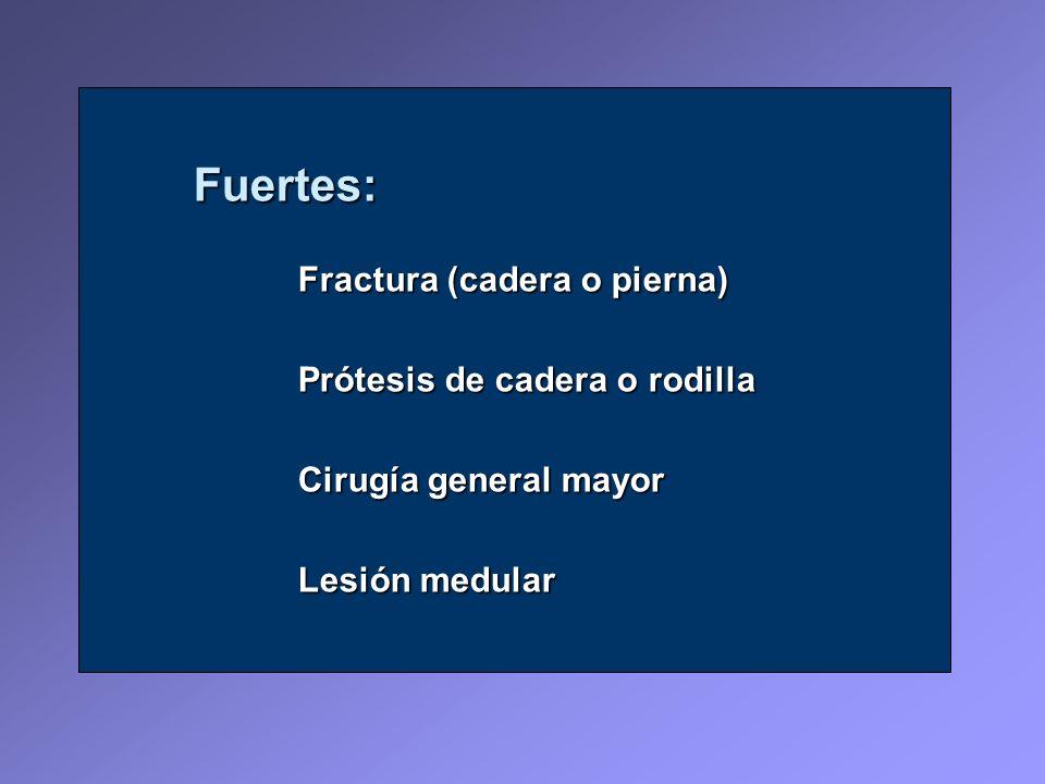 Fuertes: Fractura (cadera o pierna) Prótesis de cadera o rodilla