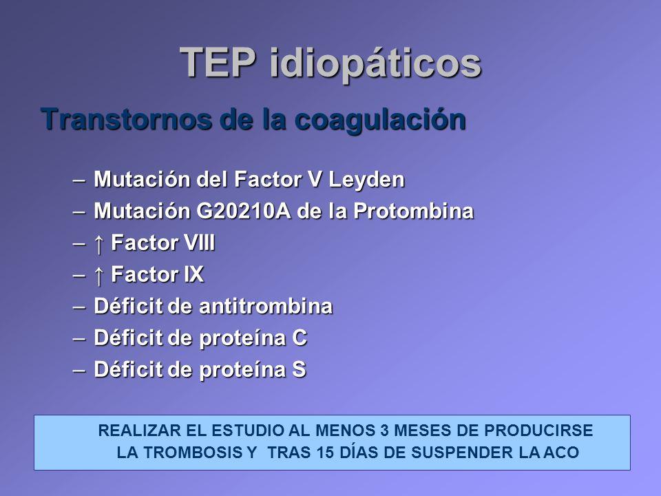 TEP idiopáticos Transtornos de la coagulación
