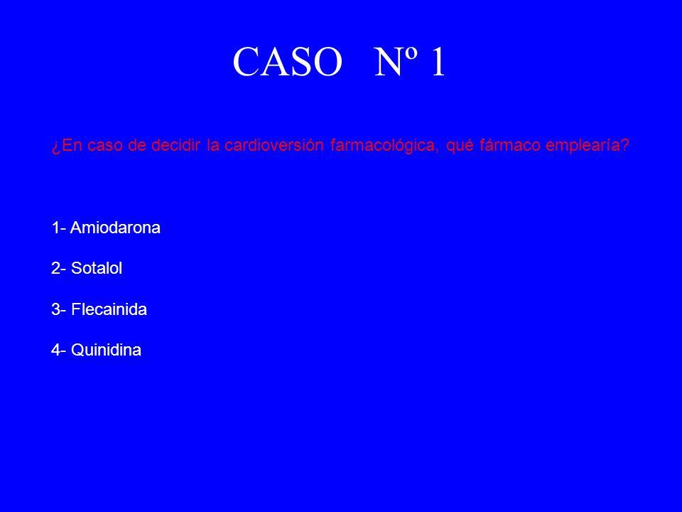 CASO Nº 1 ¿En caso de decidir la cardioversión farmacológica, qué fármaco emplearía 1- Amiodarona.
