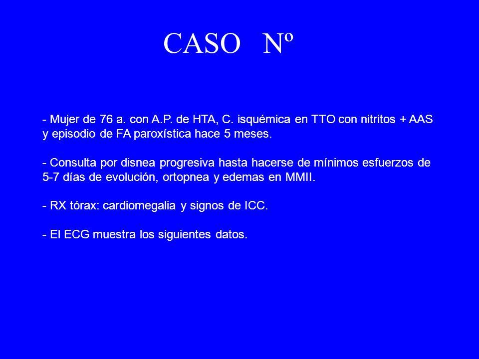 CASO Nº 2- Mujer de 76 a. con A.P. de HTA, C. isquémica en TTO con nitritos + AAS y episodio de FA paroxística hace 5 meses.