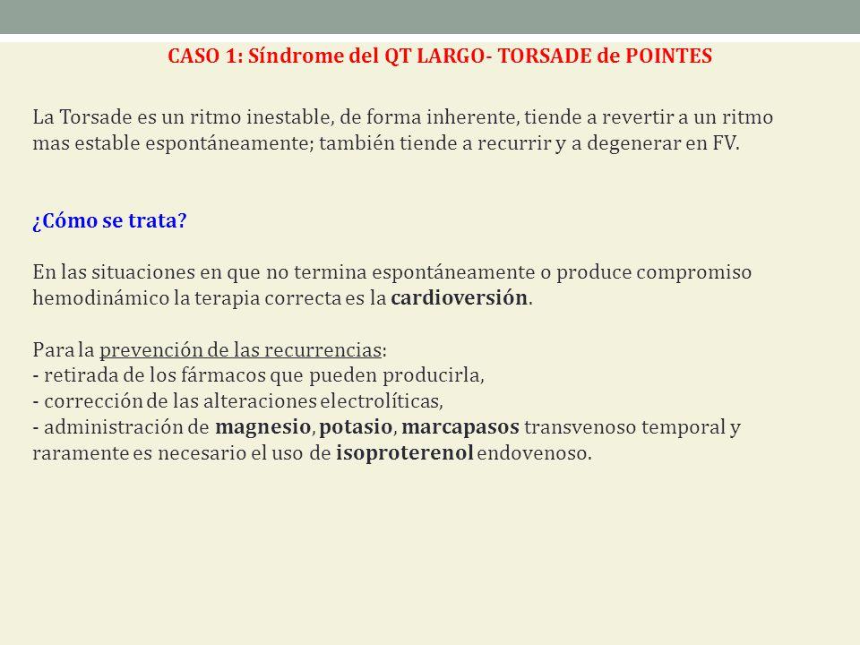 CASO 1: Síndrome del QT LARGO- TORSADE de POINTES