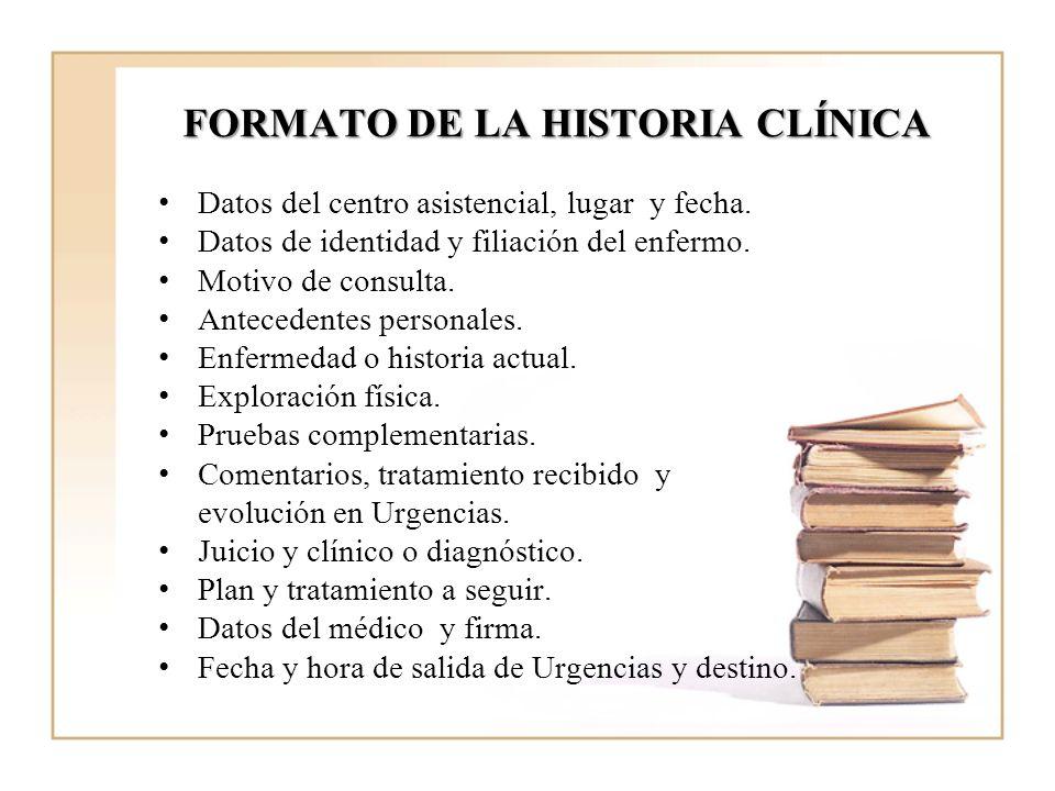 FORMATO DE LA HISTORIA CLÍNICA