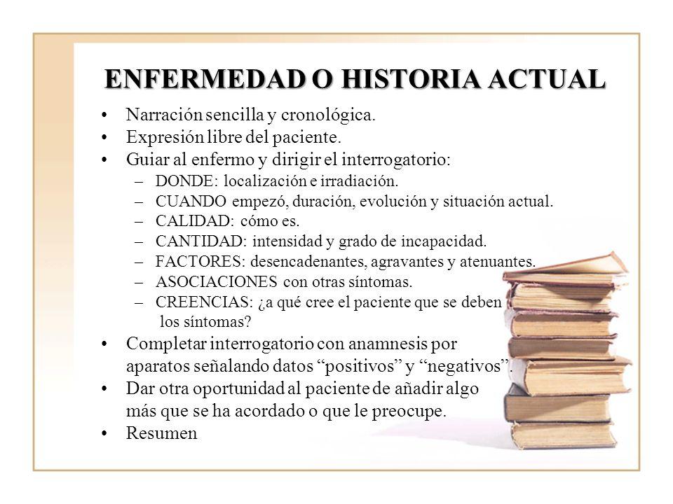 ENFERMEDAD O HISTORIA ACTUAL