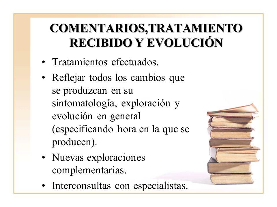 COMENTARIOS,TRATAMIENTO RECIBIDO Y EVOLUCIÓN