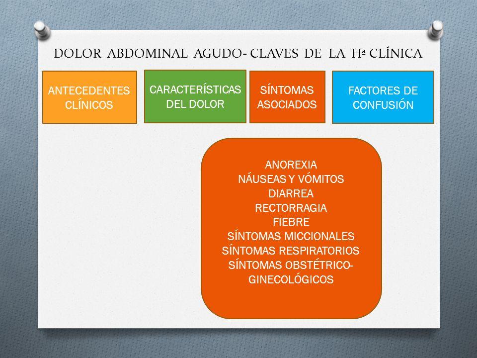 DOLOR ABDOMINAL AGUDO- CLAVES DE LA Hª CLÍNICA