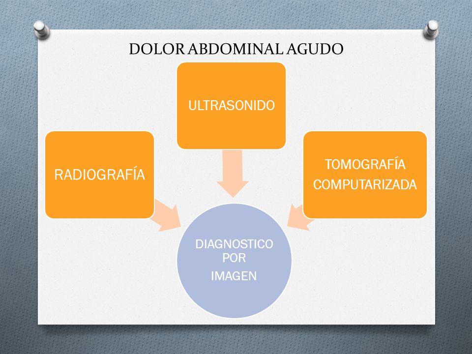 DOLOR ABDOMINAL AGUDO RADIOGRAFÍA ULTRASONIDO TOMOGRAFÍA COMPUTARIZADA