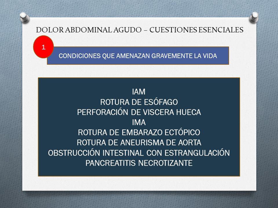 DOLOR ABDOMINAL AGUDO – CUESTIONES ESENCIALES