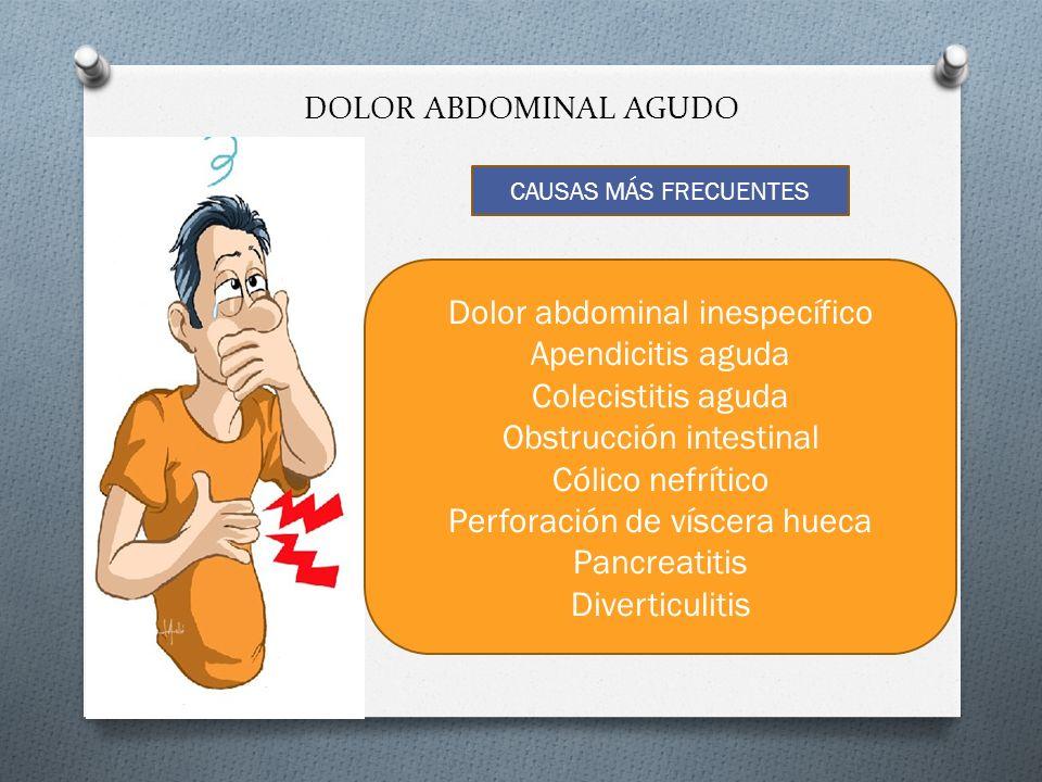 Dolor abdominal inespecífico Apendicitis aguda Colecistitis aguda