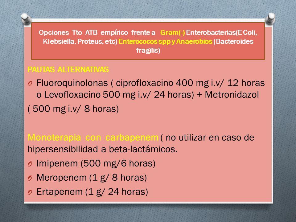 Opciones Tto ATB empírico frente a Gram(-) Enterobacterias(E Coli, Klebsiella, Proteus, etc) Enterococos spp y Anaerobios (Bacteroides fragilis)