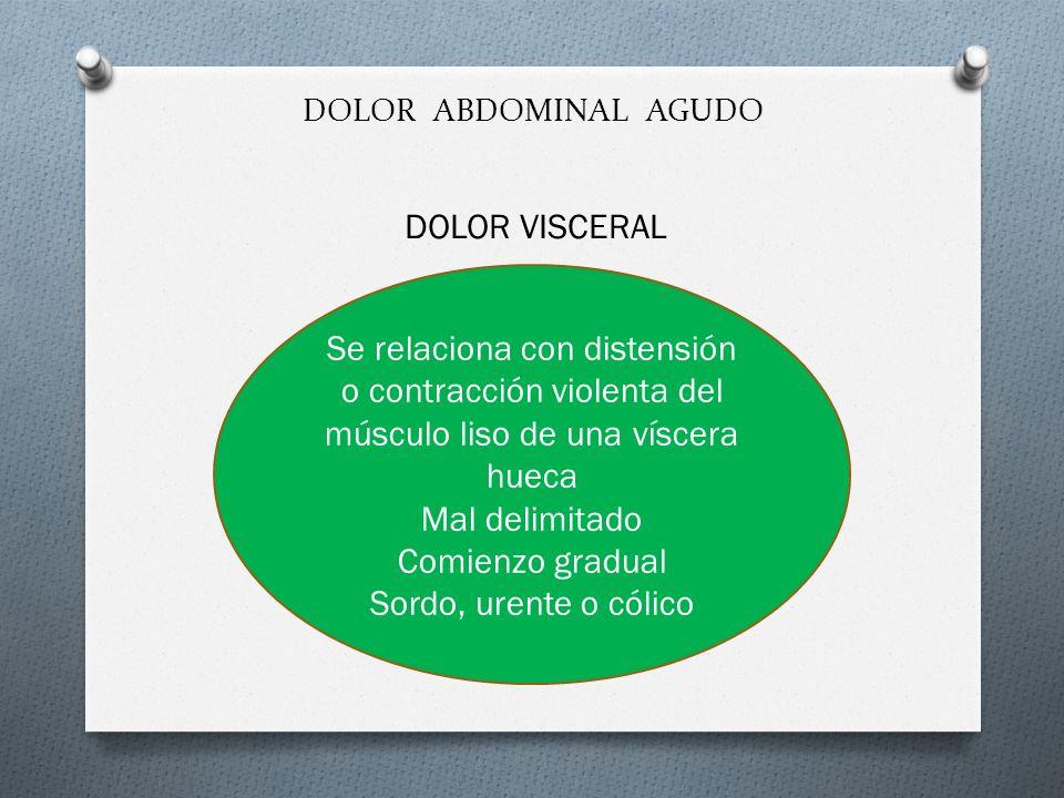 DOLOR ABDOMINAL AGUDO DOLOR VISCERAL. Se relaciona con distensión o contracción violenta del músculo liso de una víscera hueca.